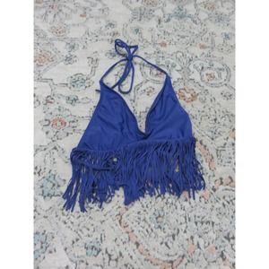 L*Space Blue Halter Longline Fringe Bikini Top